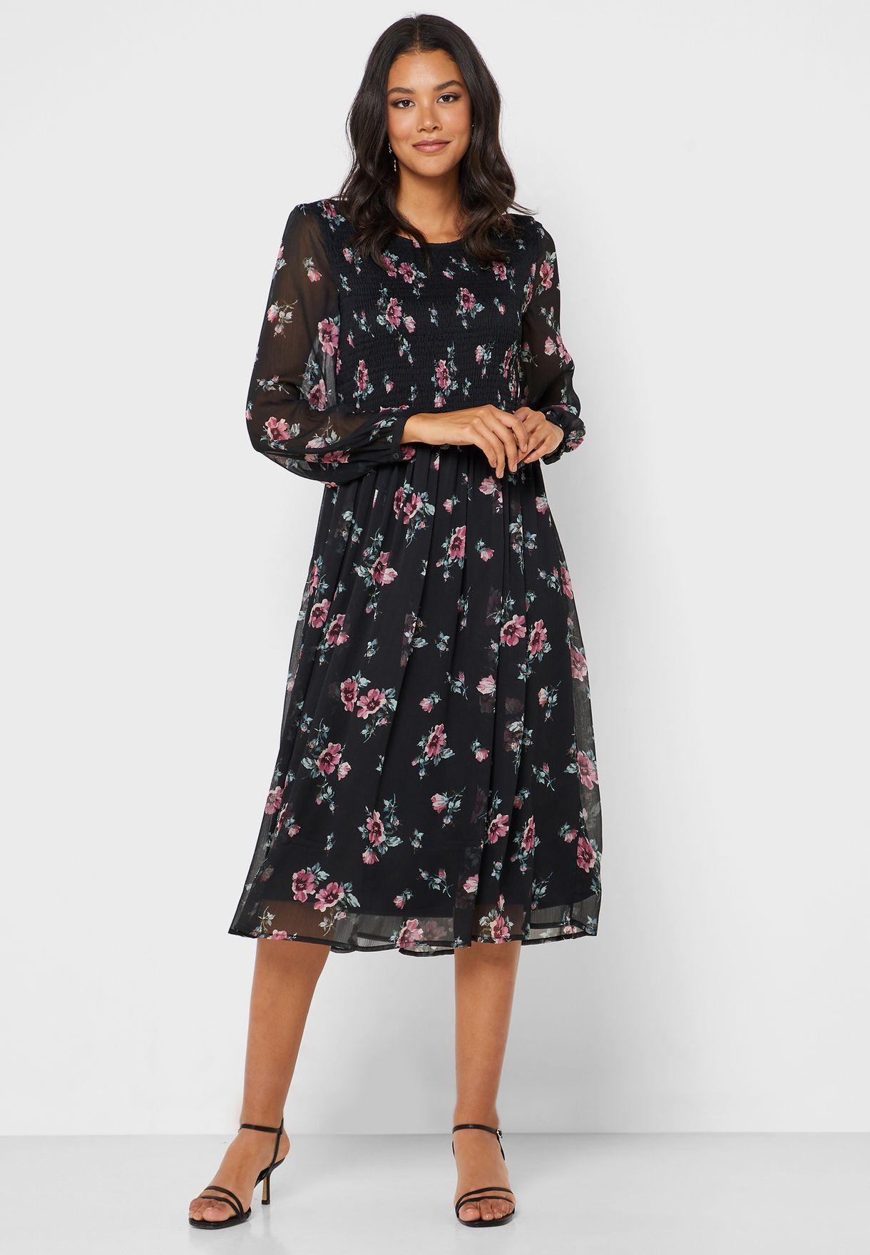 Floral Print Sheer Sleeve Skater Dress