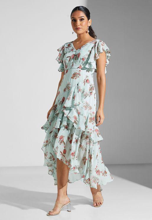 Floral Print Layered Asymmetric Dress