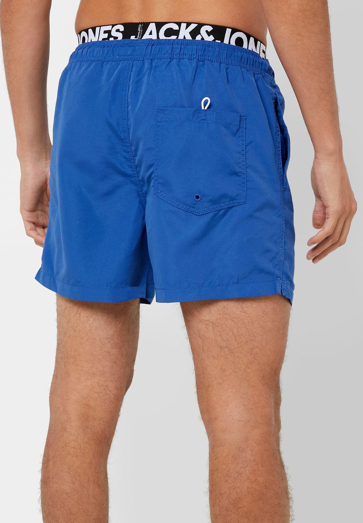 Double Waistband Swim Shorts