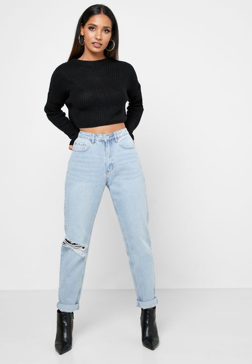 High Waist Ripped Mom Jean