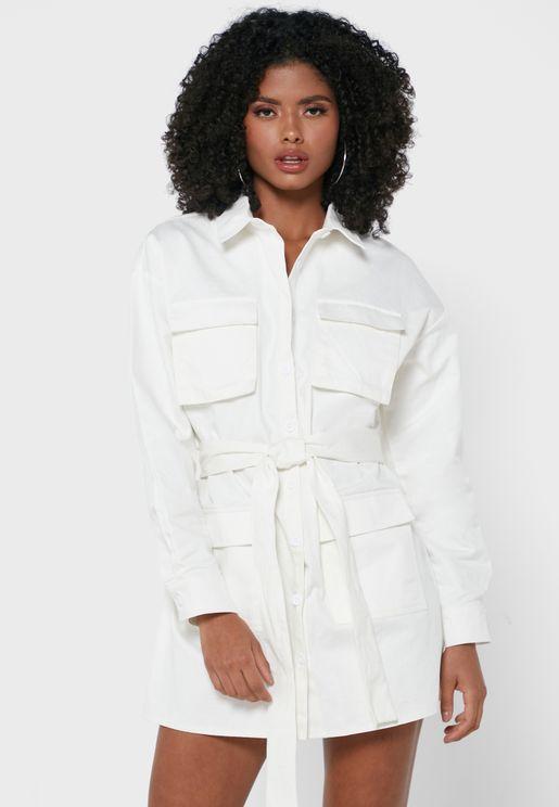 Oversized Belted Mini Shirt Dress