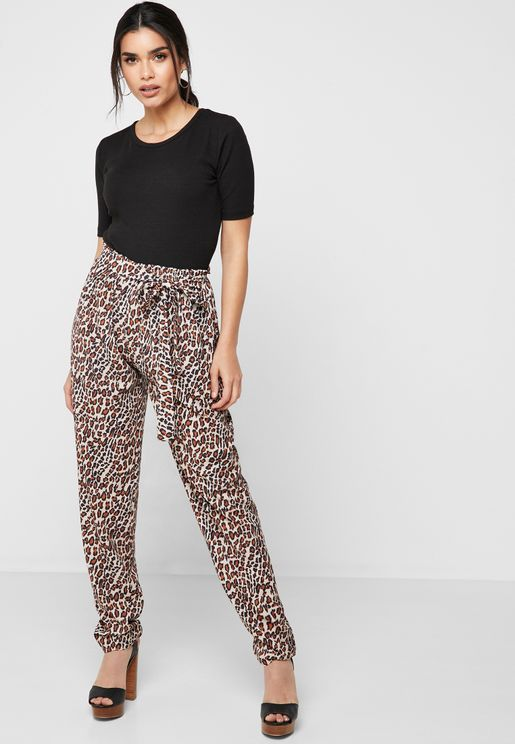 Leopard Print Self Tie Pants