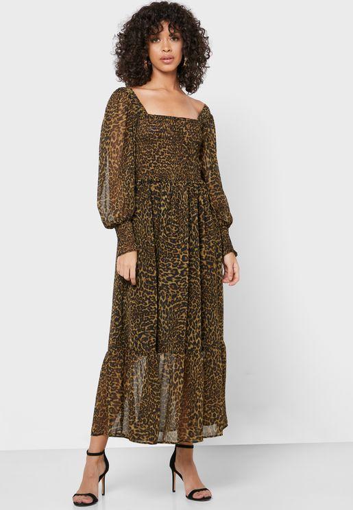 Animal Print Sheer Detail Dress