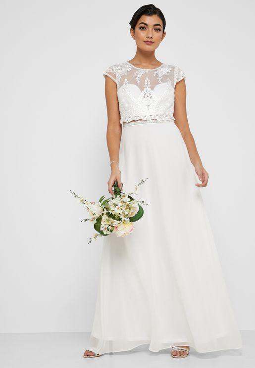 Lace Mesh Neck Embellished Maxi Dress