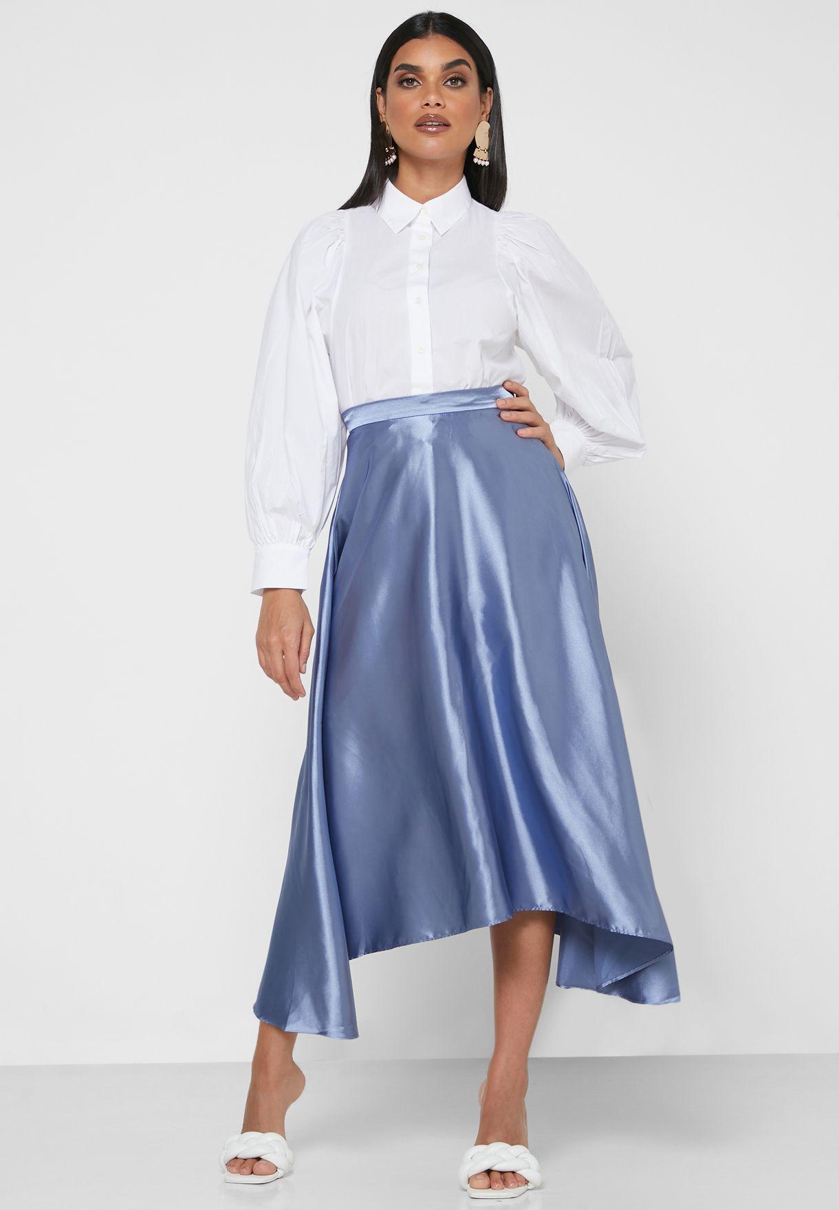 Uneven Hem Midi Skirt