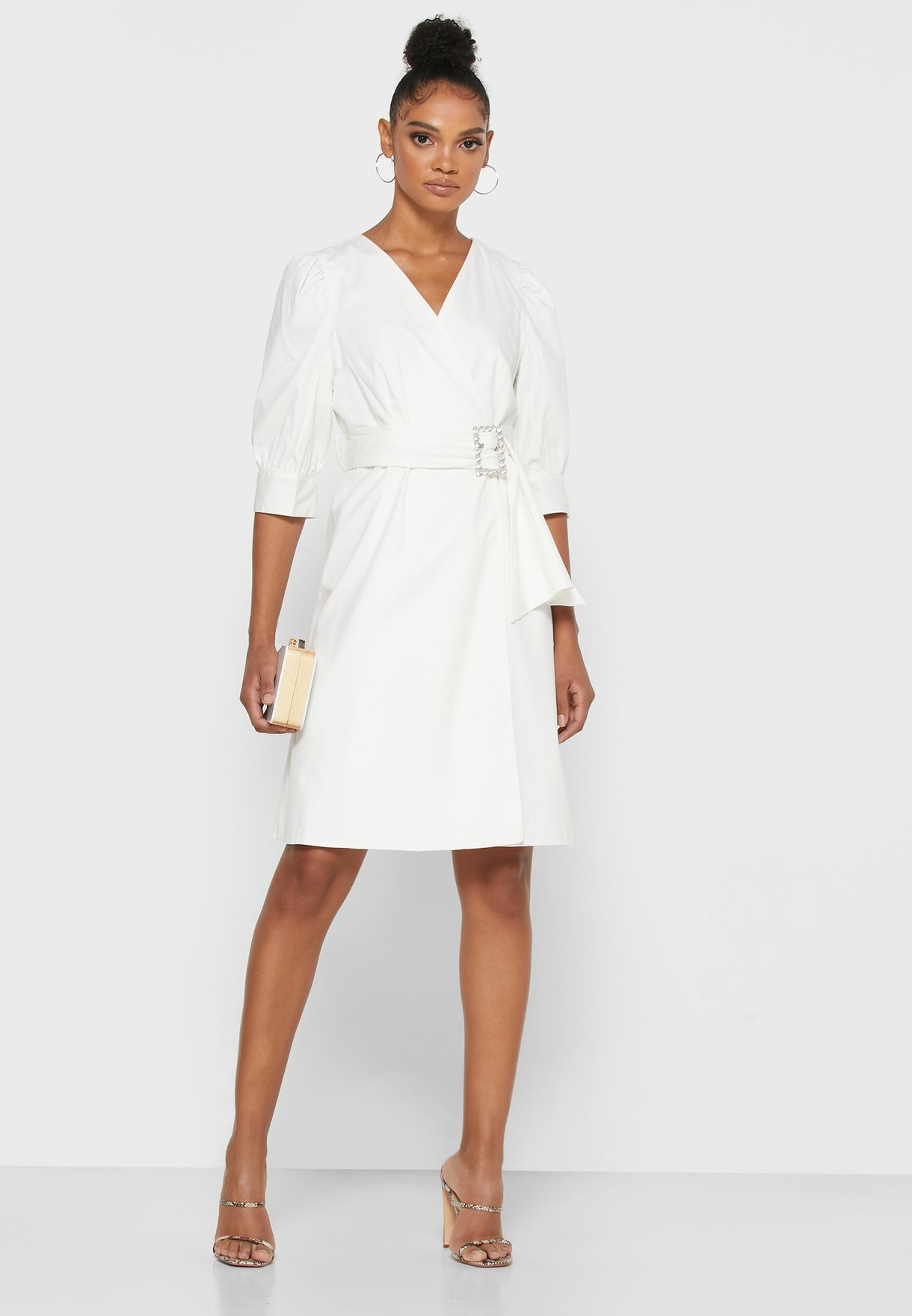 Wrap Front Puffed Sleeve Belted Mini Dress