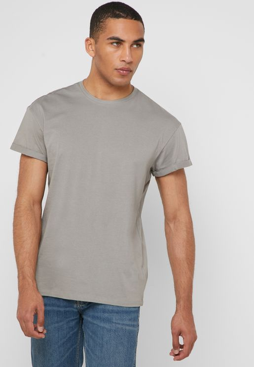 Rolled Sleeve Crew Neck T-Shirt