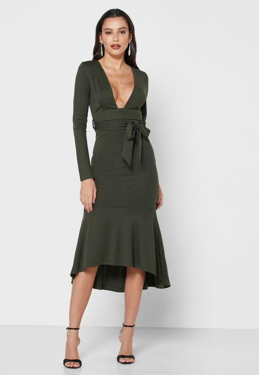 Plunge Neck Self Tie Midi Dress