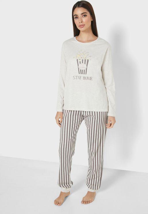 Stripe Print T-Shirt & Pyjama Set