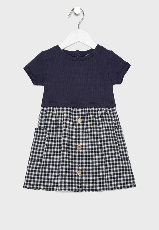 Infant Checked Button Detail Dress