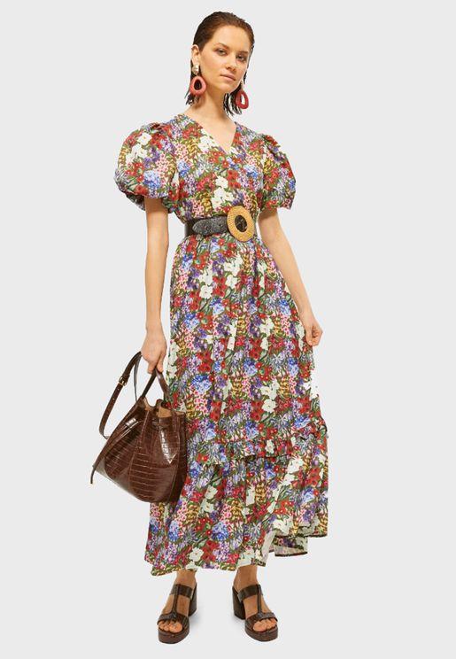 Sleeve Floral Print Skater Dress