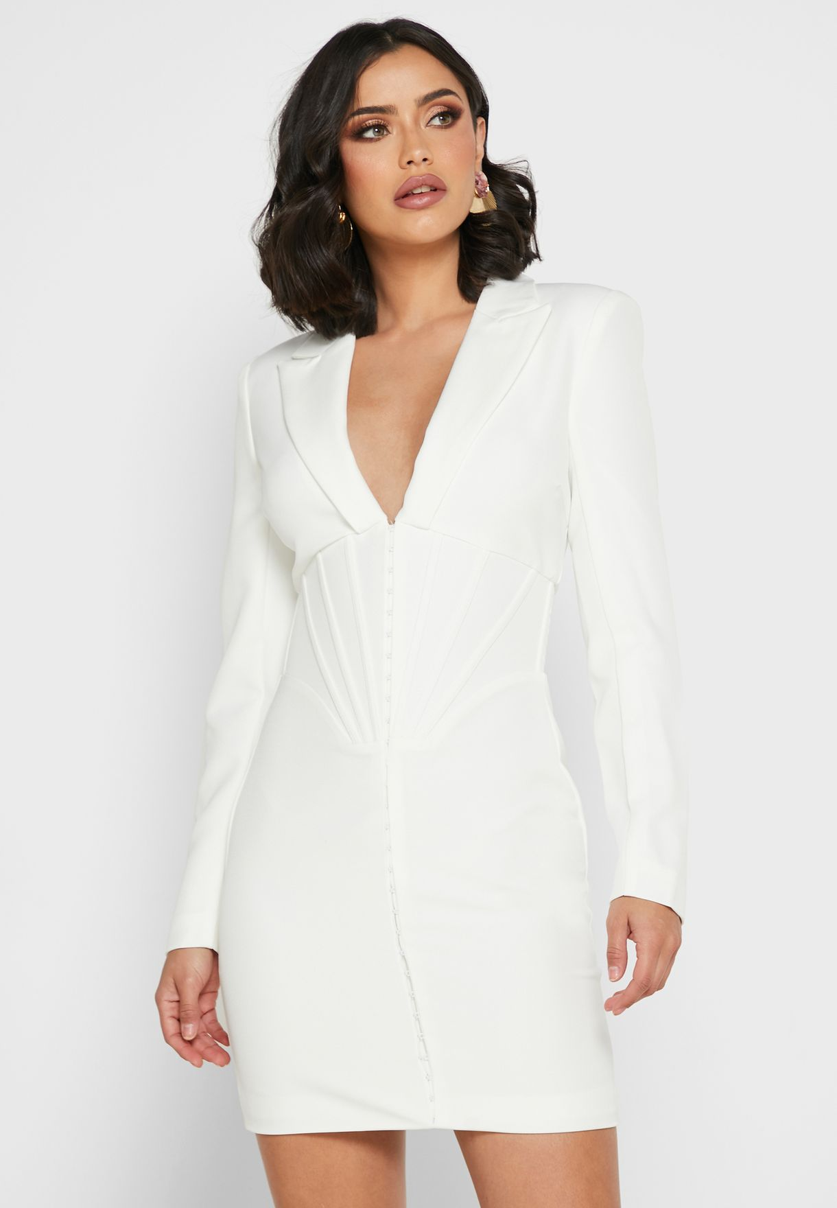 Shirred Detail Blazer Dress