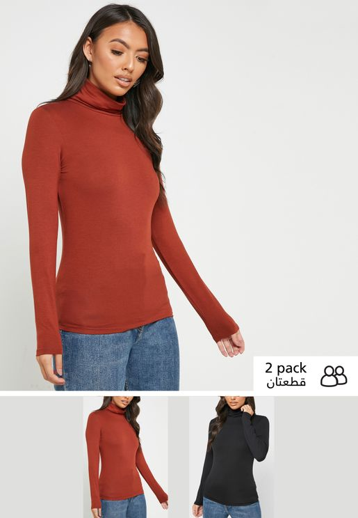 2 Pack Roll Neck Top