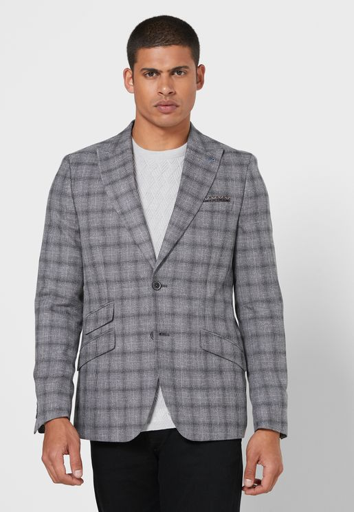 Grindle Pow Checked Slim Fit Blazer