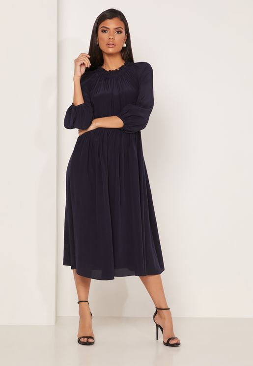 Odellie High Neck Gathered Maxi Dress