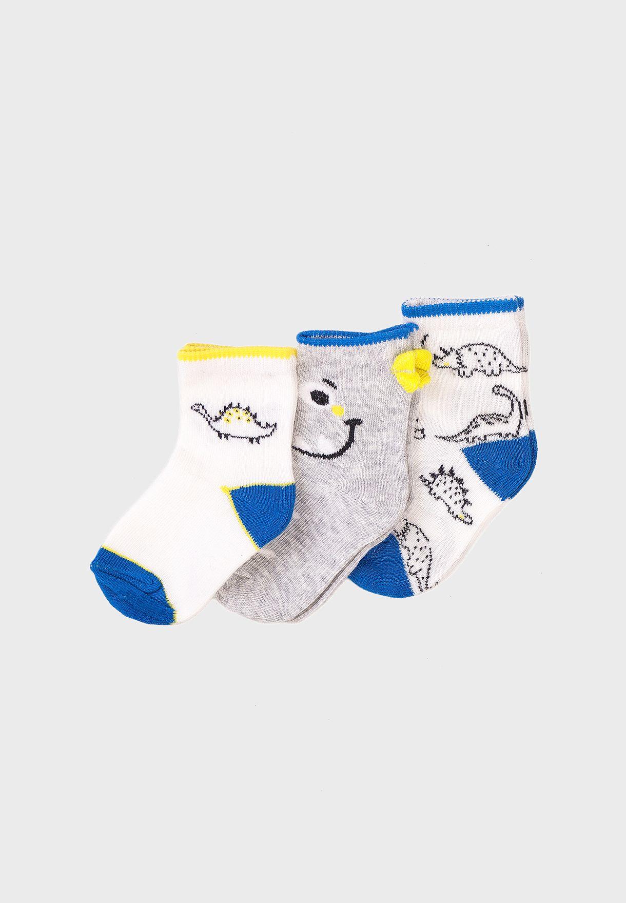 Infant 3 Pack Dino Socks