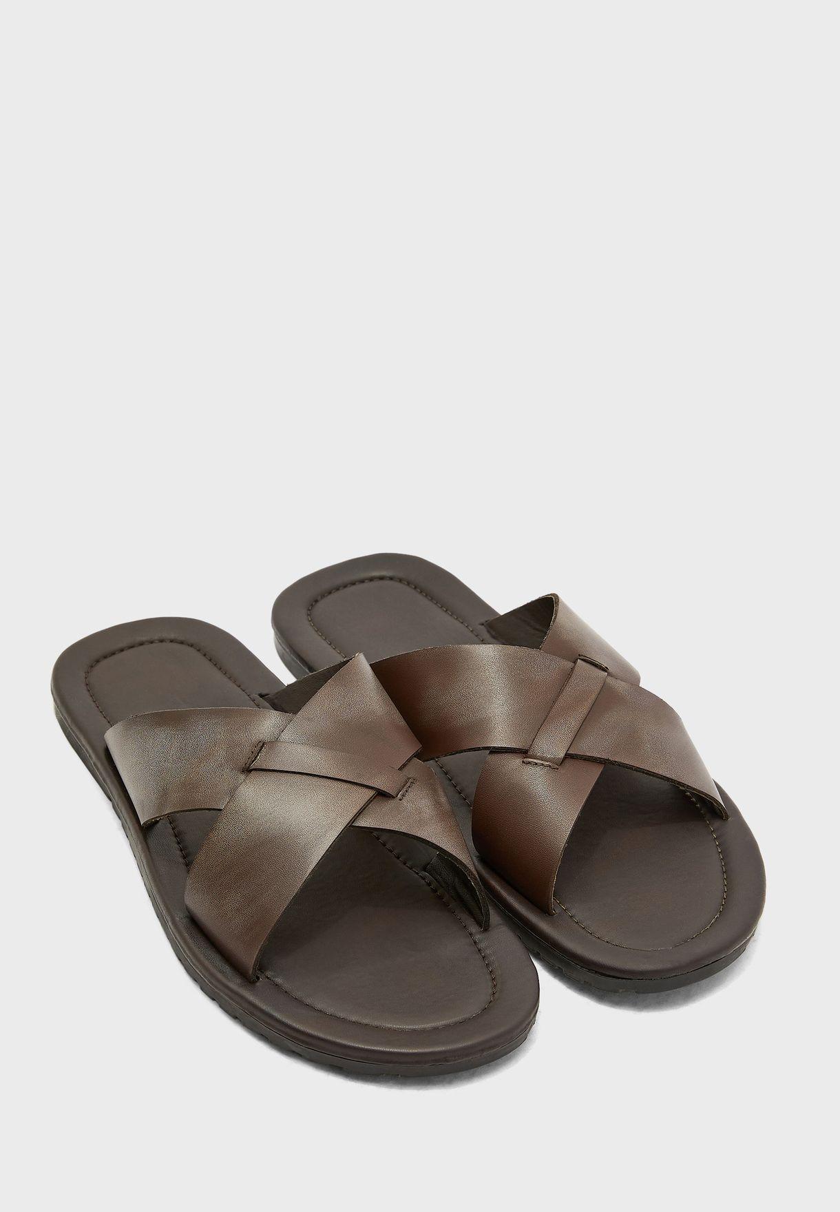 Genuine Leather Cross Strap Sandals