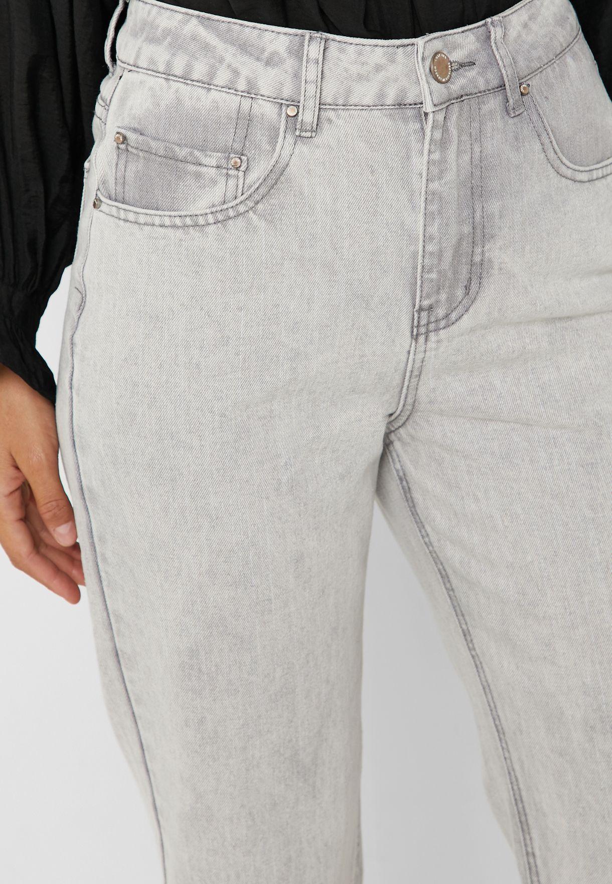 High Waist Acid Wash Straight Jeans