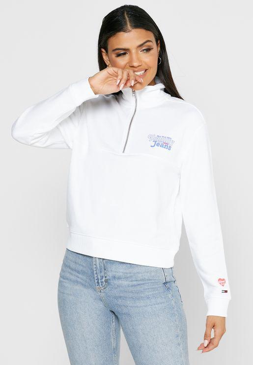 Zip Detail High Neck Sweatshirt