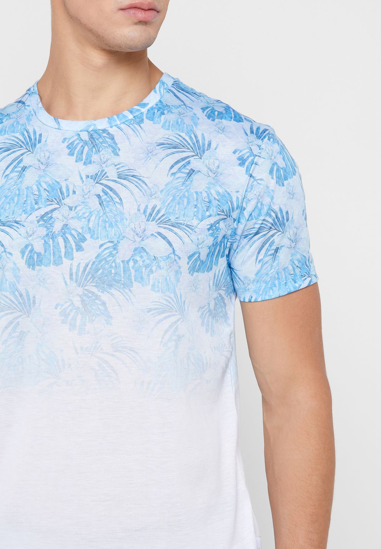 Palm Leaf And Floral Print Faded T-Shirt