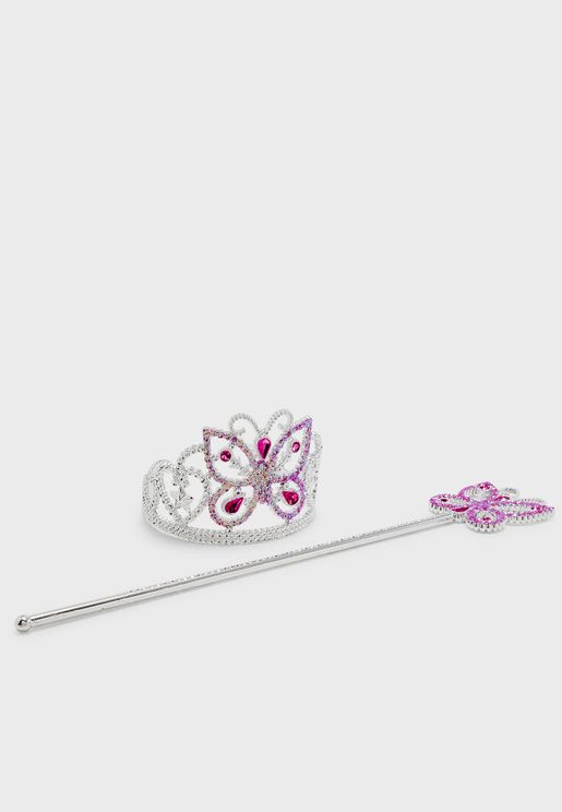 Kids Butterfly Tiara + Wand Set