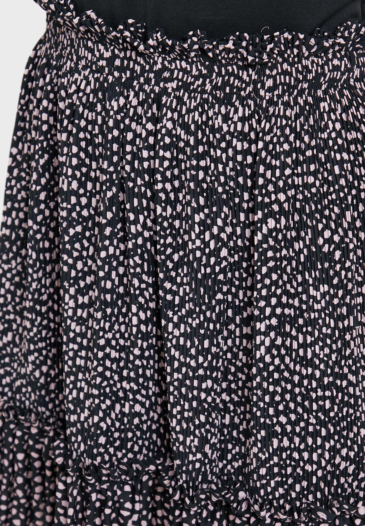 Ruffle Detail Printed Skirt