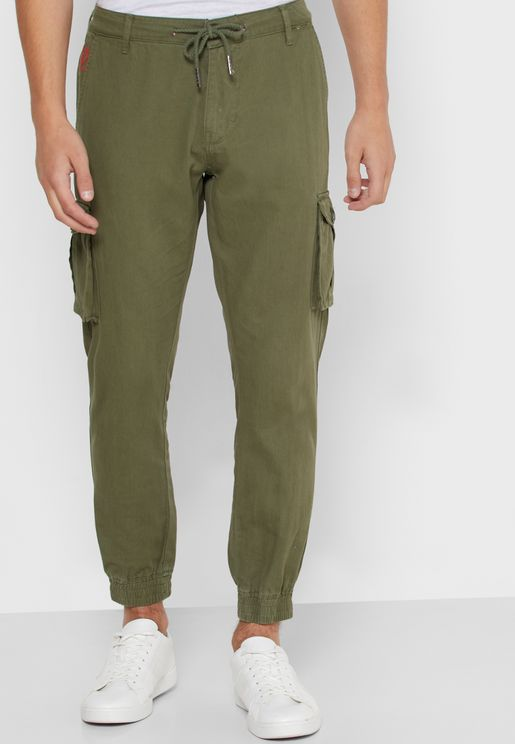 Drawstring Cuffed Cargo Pants