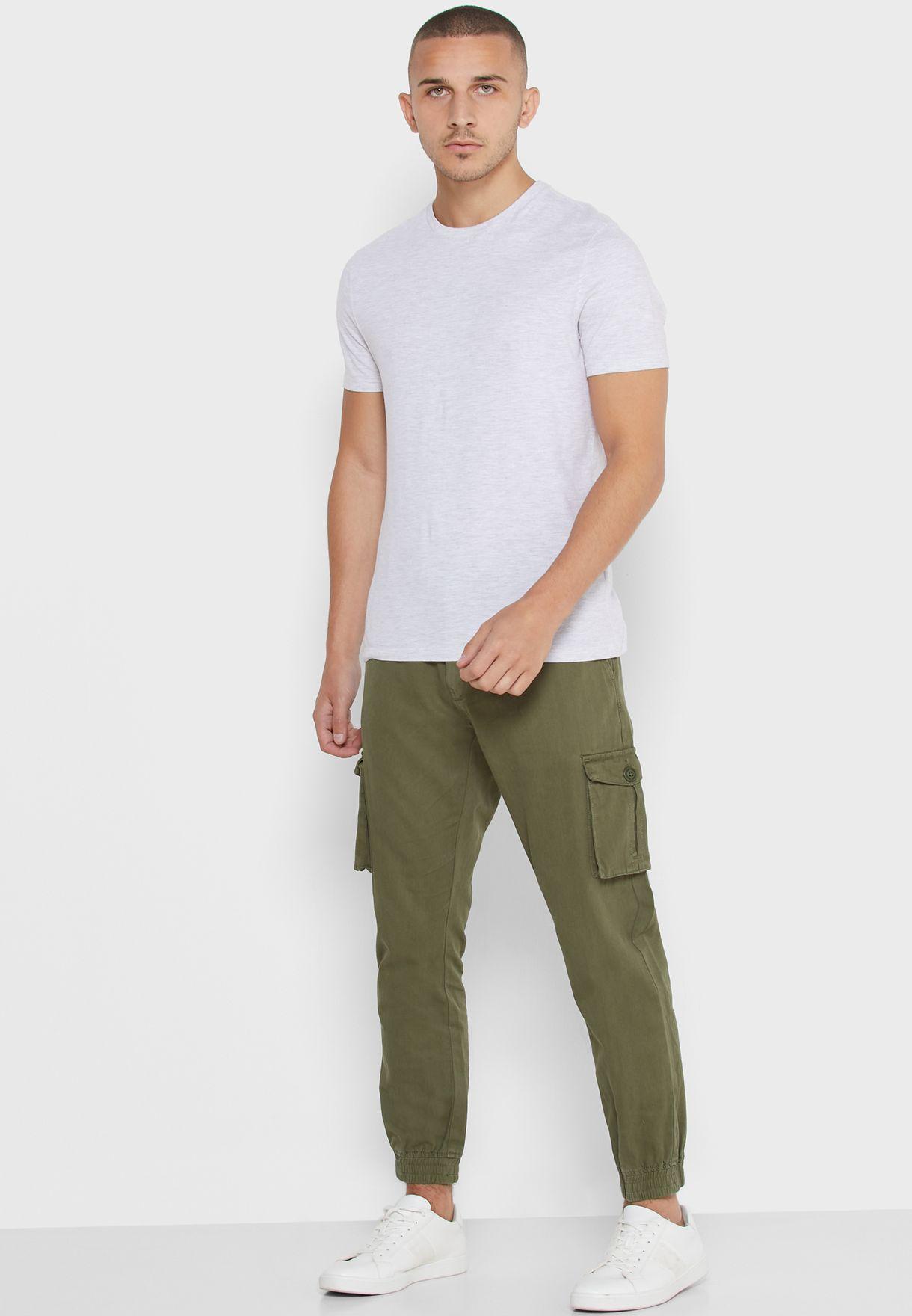 Drawstring Cuffed Cargo Pants