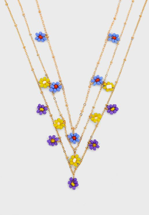 3 Pack Flower Bead Chain Necklaces