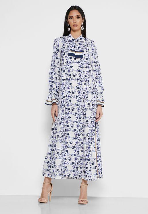 Tie Neck Printed Dress