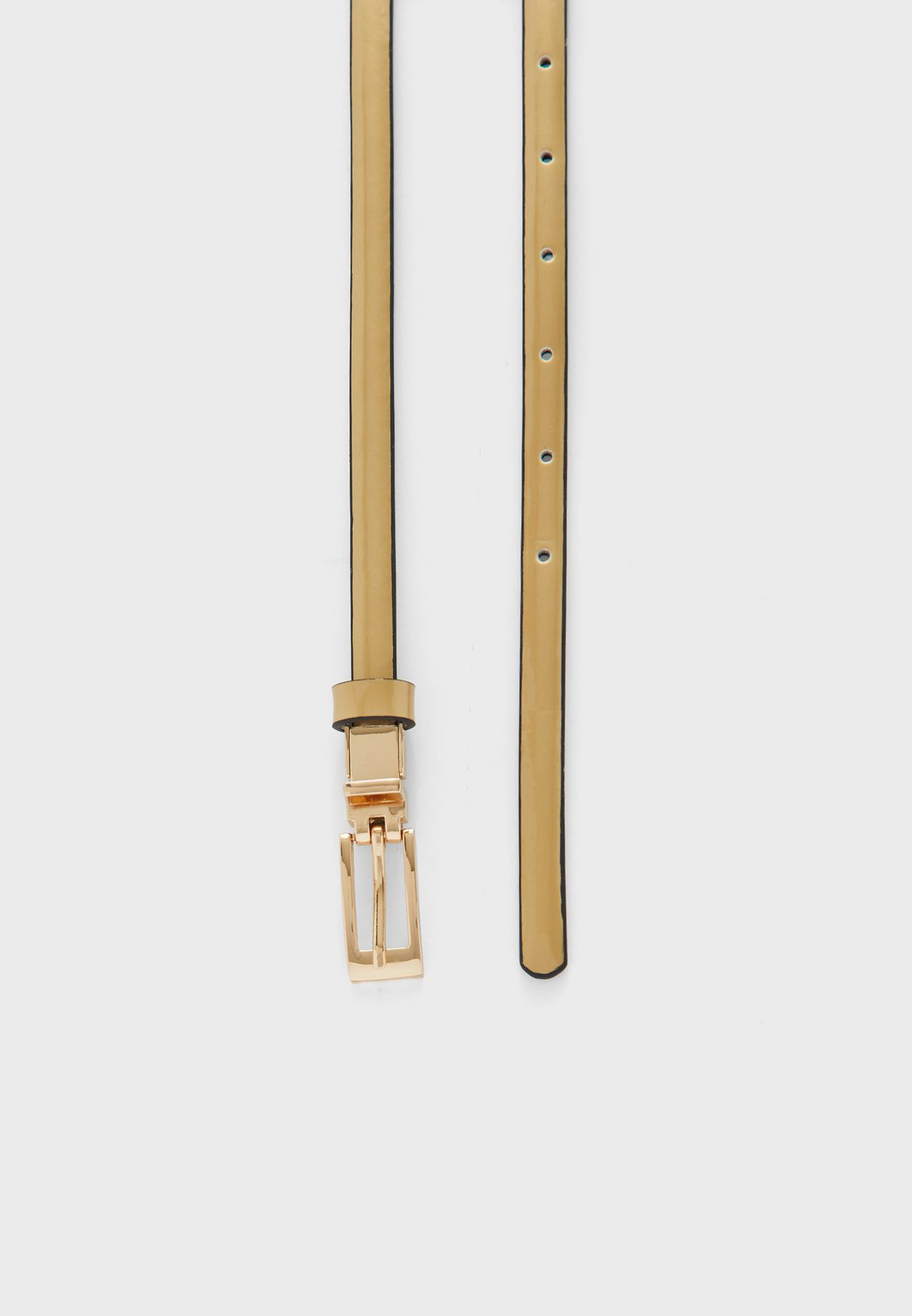 Leather Rectangle Buckle Patent Belt