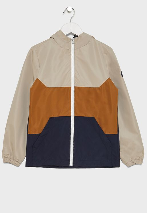 Youth Color Block Hooded Jacket