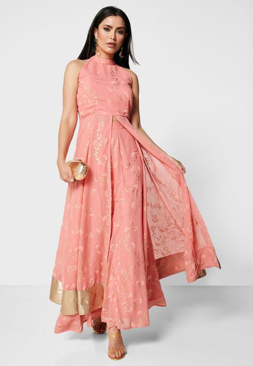 High Neck Embellsihed Dress