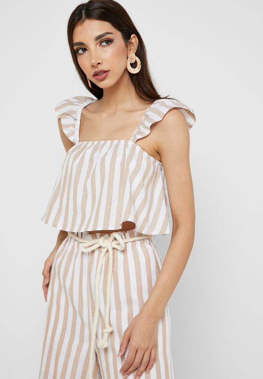Ruffle Detail Striped Crop Top