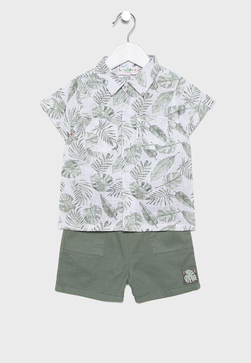 Infant Tropical Leaves + Shorts Set
