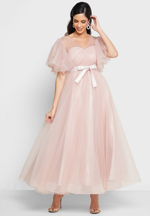 Tulle Flutter Sleeve Dress