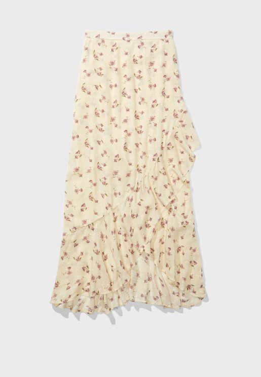 Ruffle Hem Asymmetric Printed Skirt
