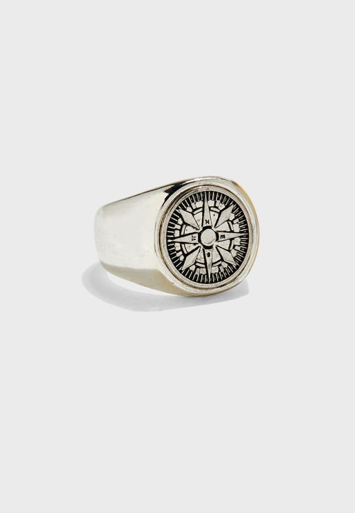 Compass Design Signet Ring