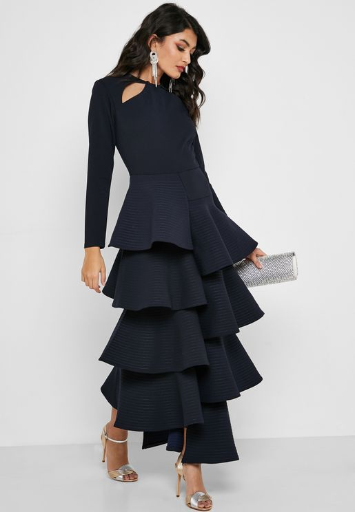 Cut Out Tiered Maxi Dress