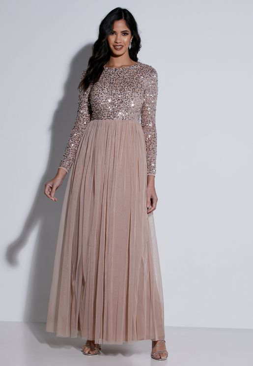 Sequin Detail Pleated Dress