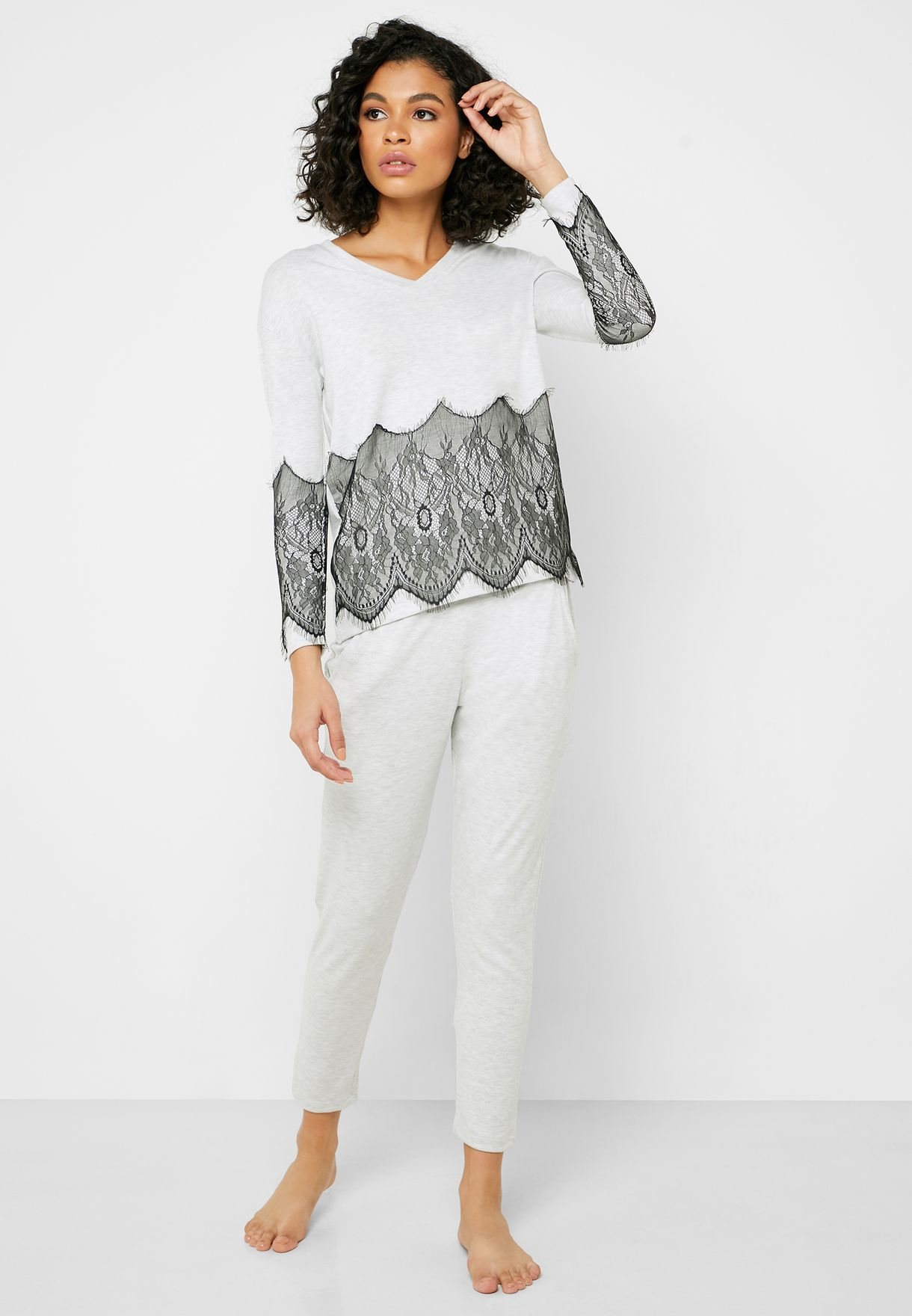 Lace Detail T-Shirt & Pyjama Set