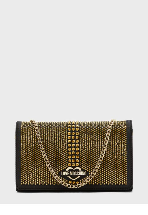Embellished Flap Over Crossbody