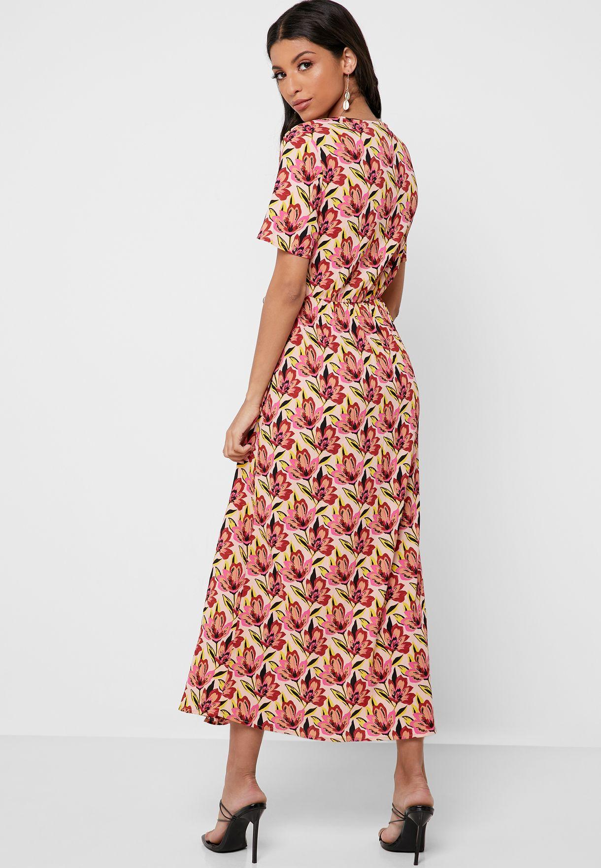 Floral Print Tie Wrap Dress
