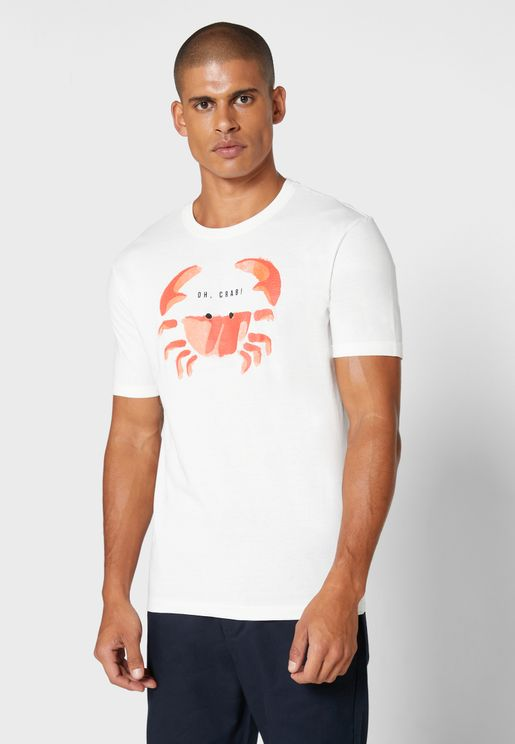 Crab Print Crew Neck T-Shirt