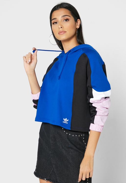 Colour Block Cropped Hoodie