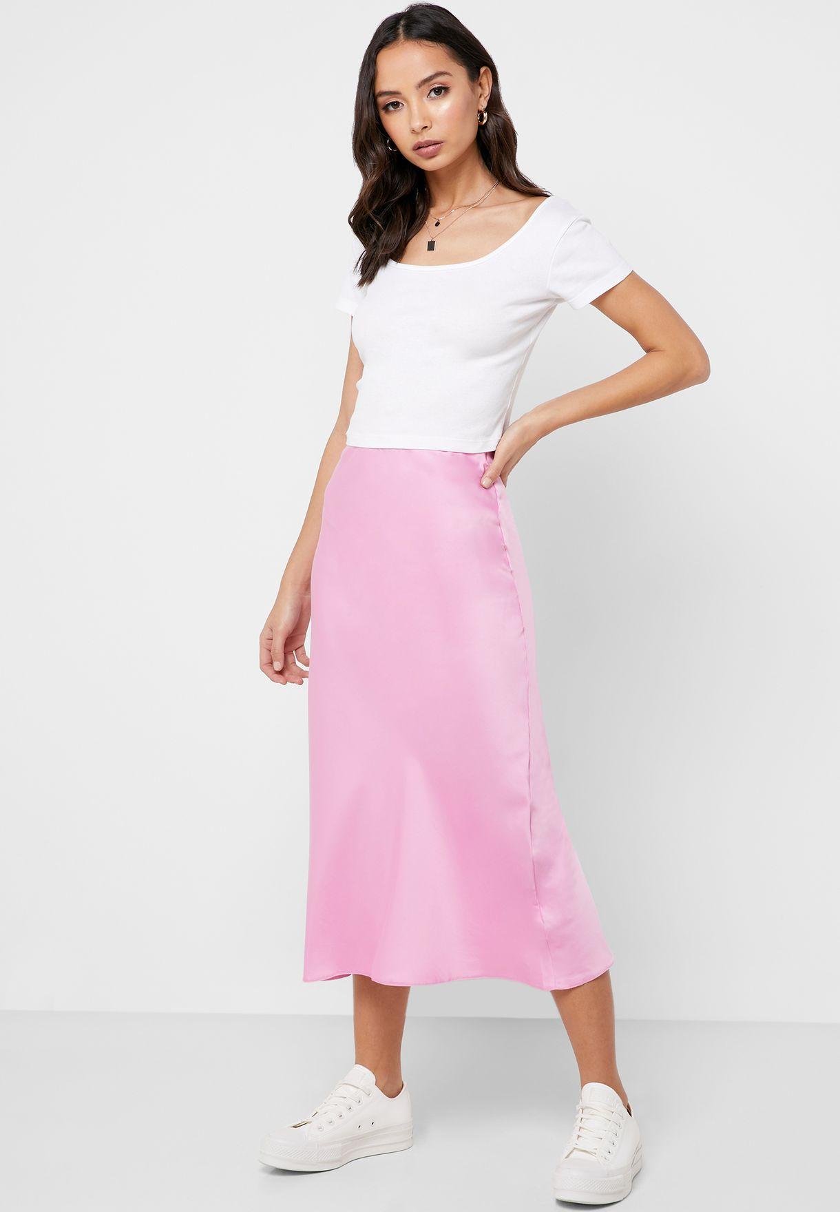ec01fba0569b1 Shop Miss Selfridge pink Bias Cut Satin Slip Skirt 15L31XPNK for ...