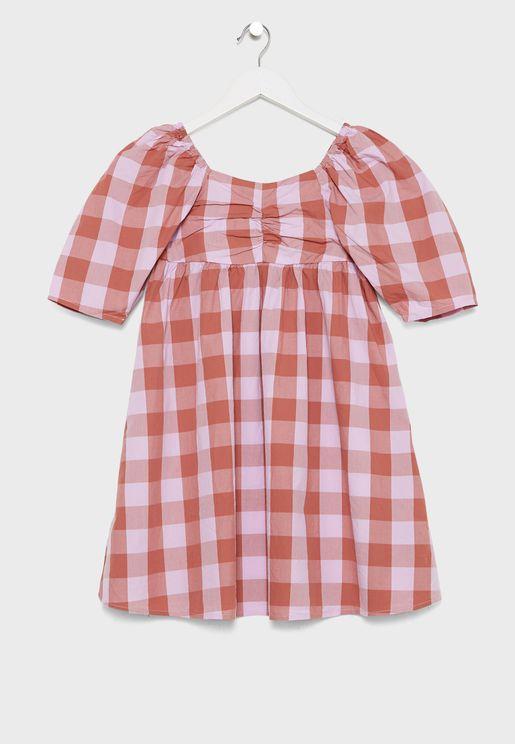 فستان مربعات للاطفال