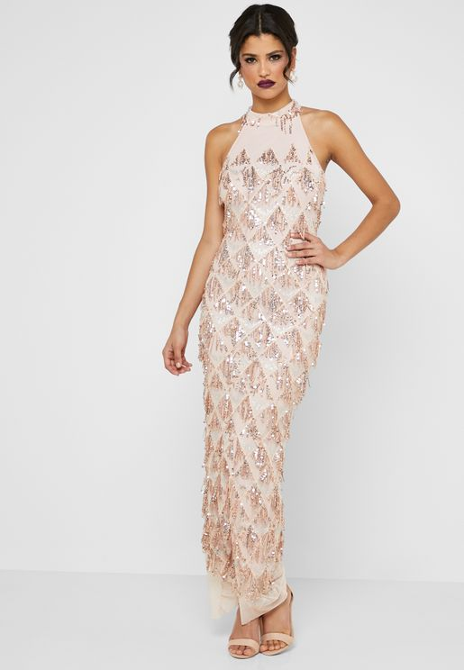 Drop Sequin Halterneck Maxi Dress