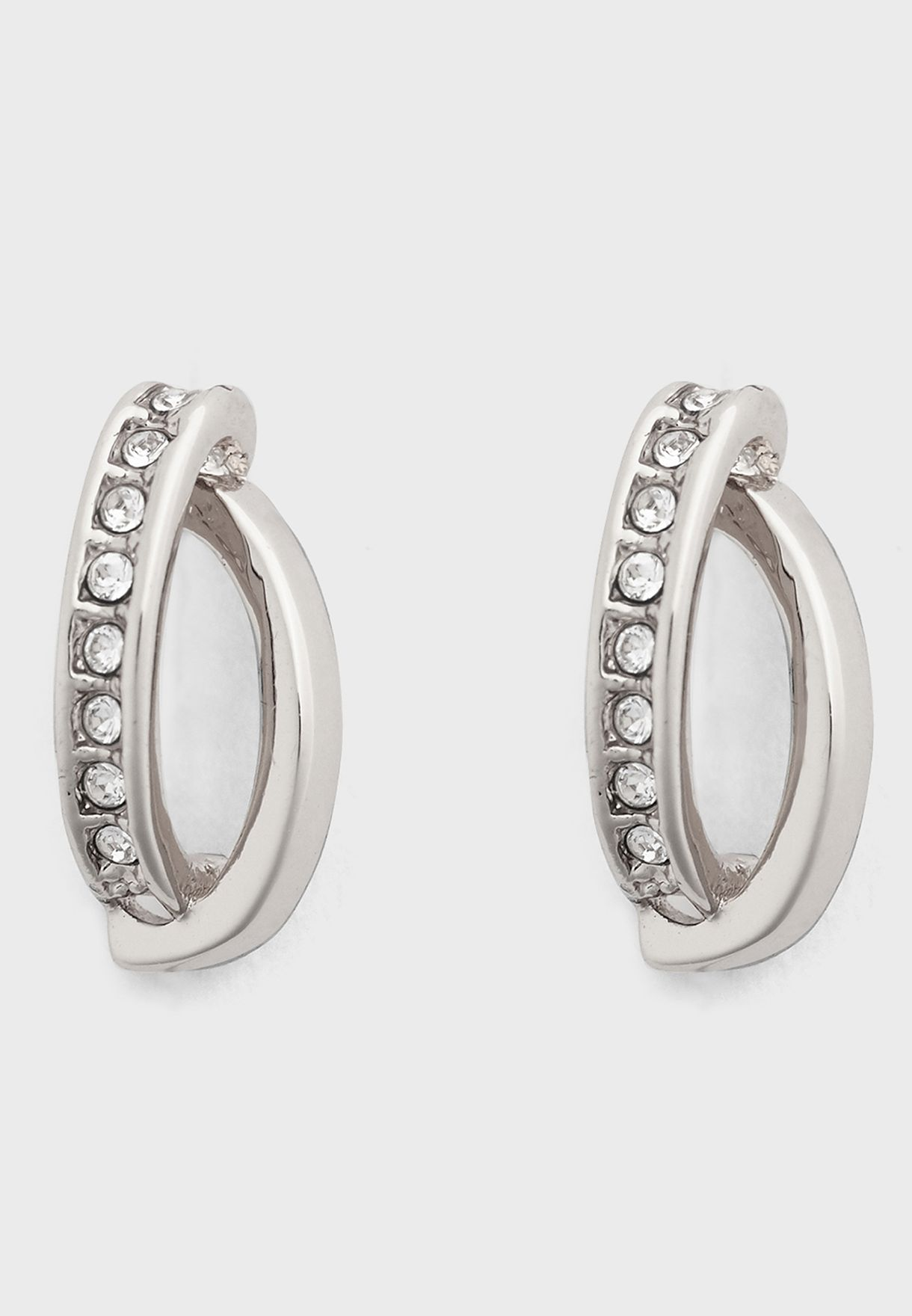 Oval Pave Chain Stud Earrings