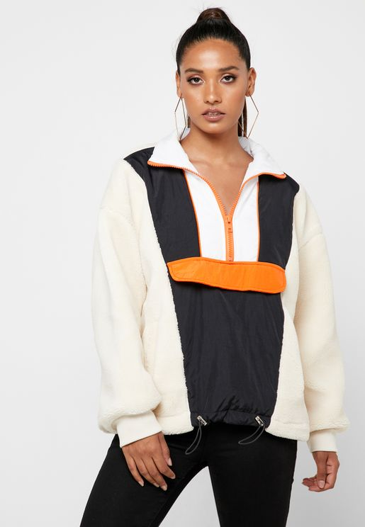 Front Zip Detail Colorblock Jacket